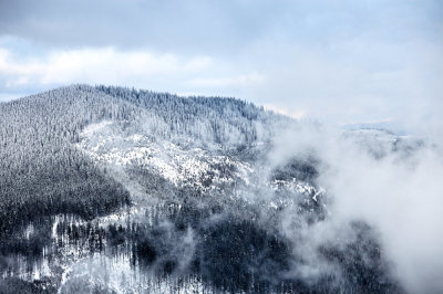 Winter view of snow covered smoky mountains